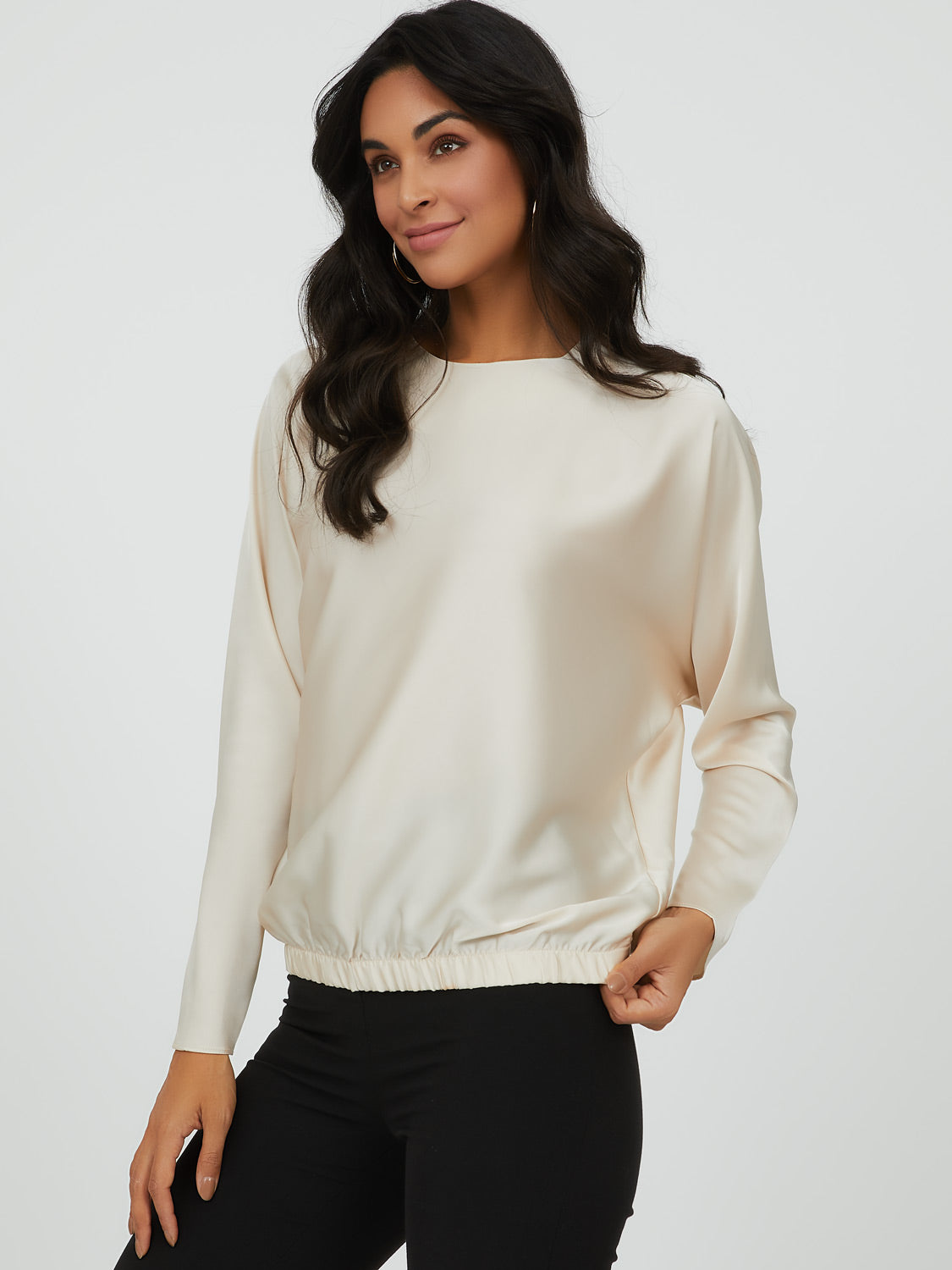 Satin Dolman Sleeve Top