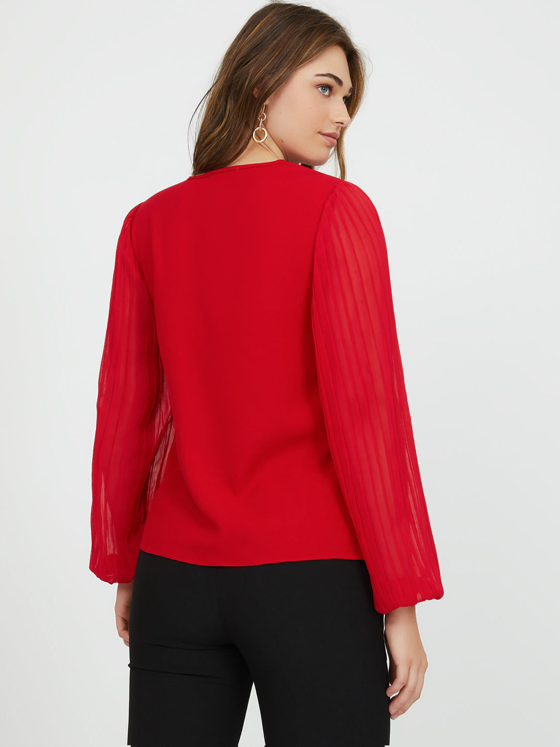 Pleated Sheer Sleeve Crepe Top