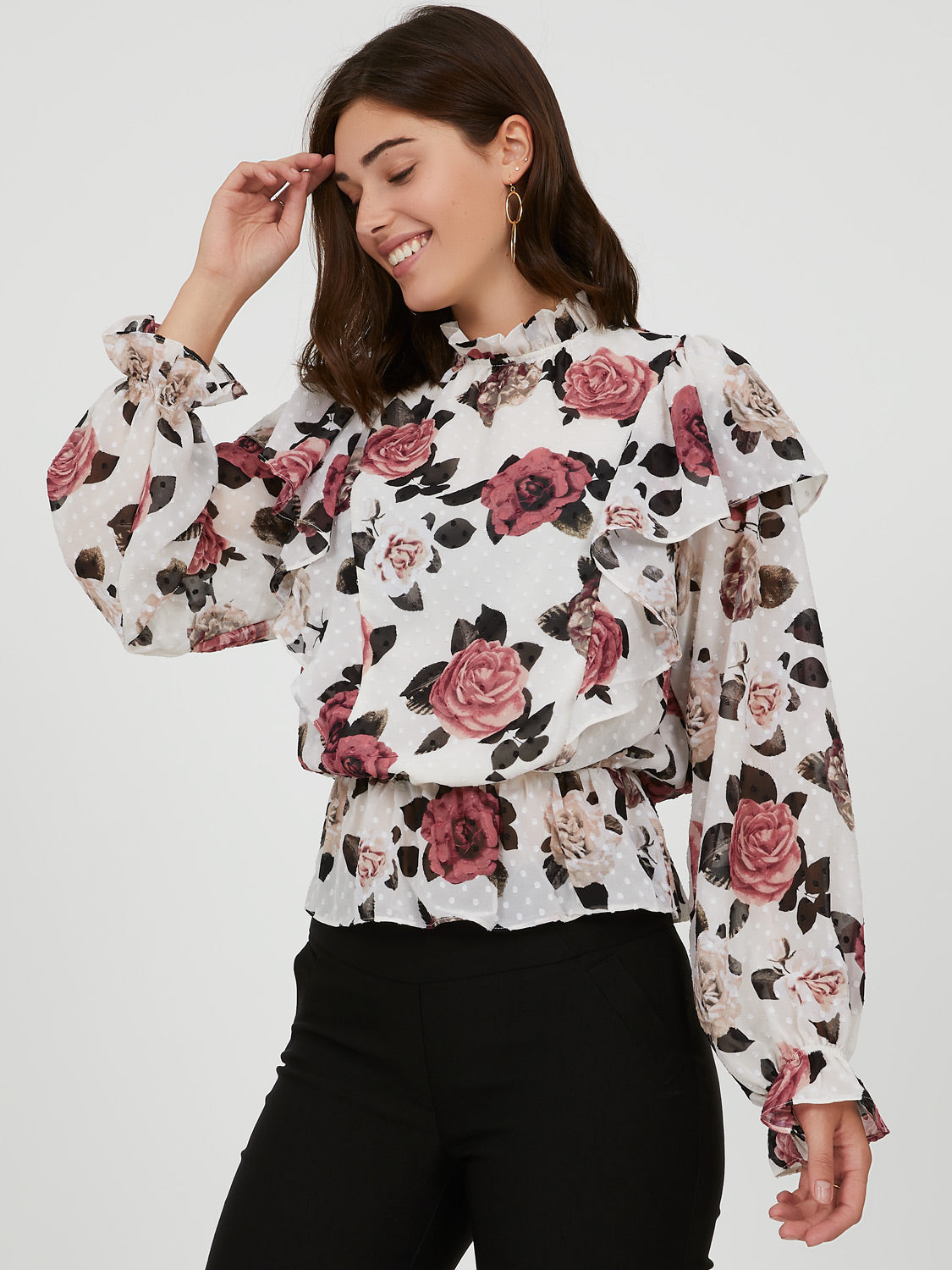 Printed Ruffled High Neck Top