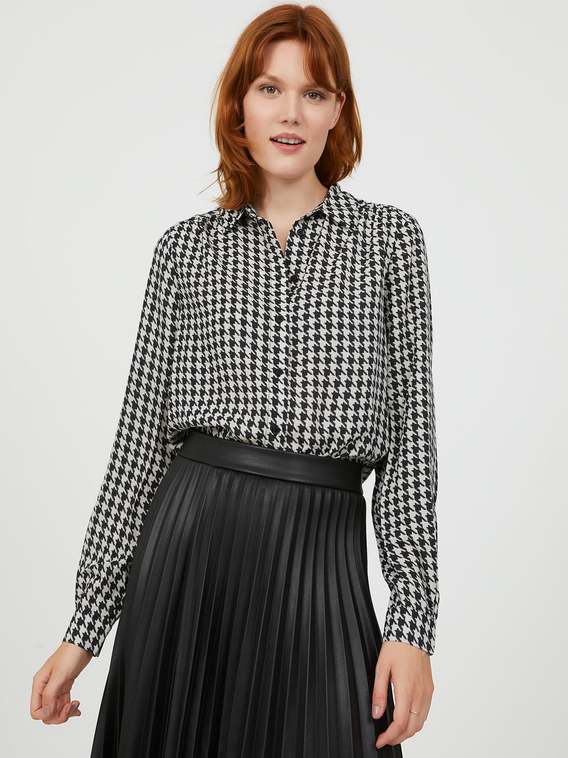 Houndstooth Chiffon Button-Down Blouse