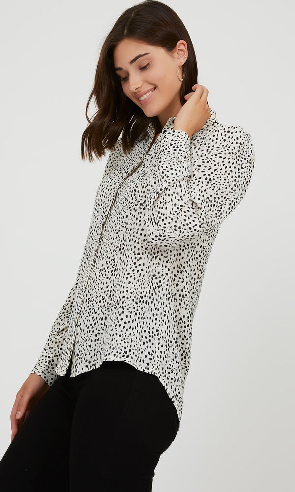 Printed Puffy Sleeve Blouse