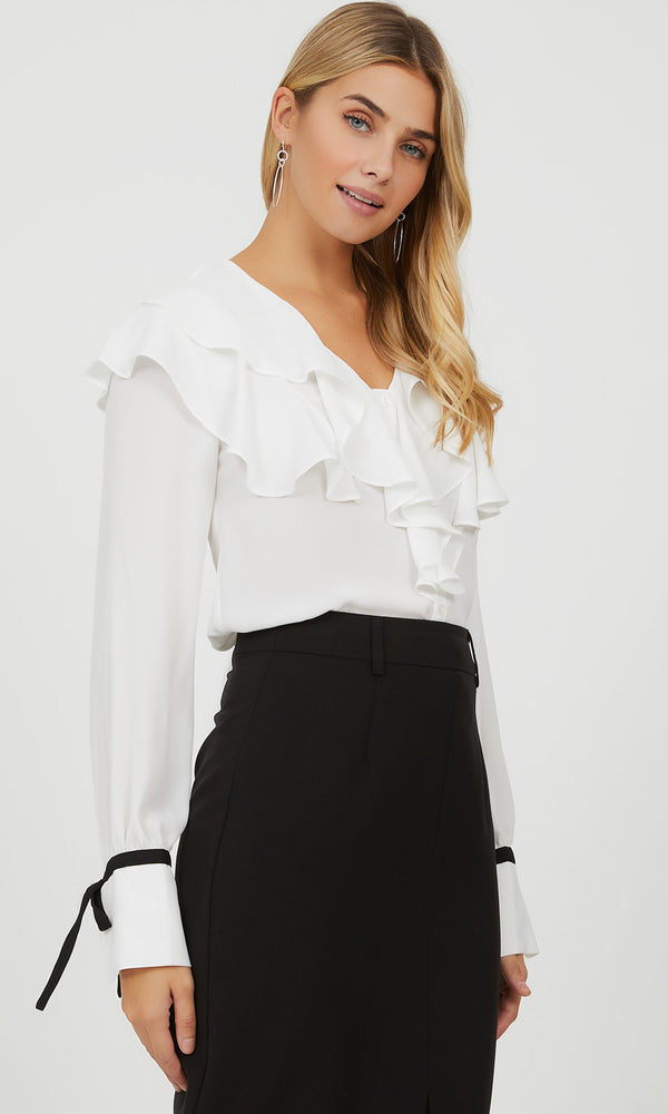 Ruffle Button-Down Blouse