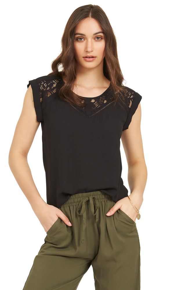 Chiffon And Lace Blouse With Cuffed Sleeves