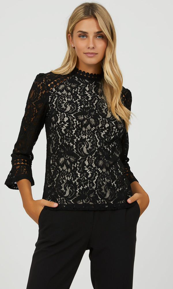 ¾ Flared Sleeve Lace Top