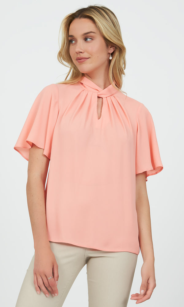 Flutter Sleeve Knotted Mock Neck Top
