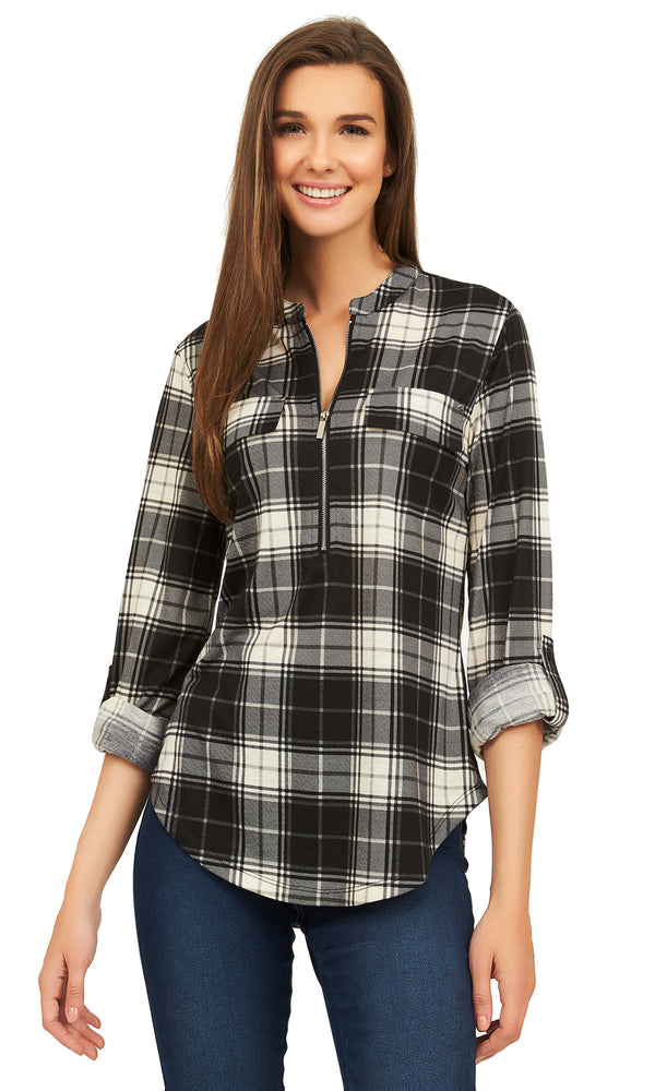 Plaid Zip-Down Shirt