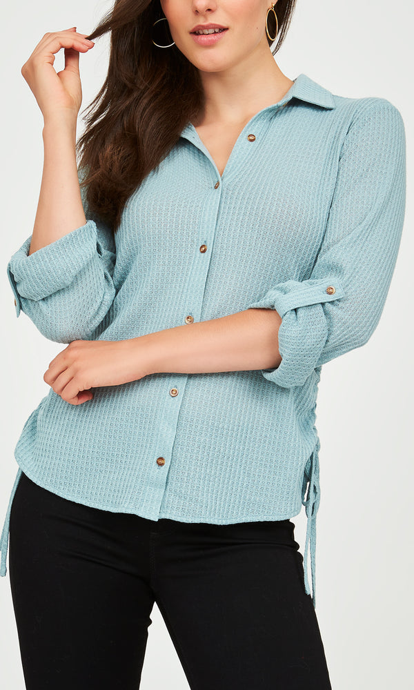 Textured Long Sleeve Waffle Knit Top