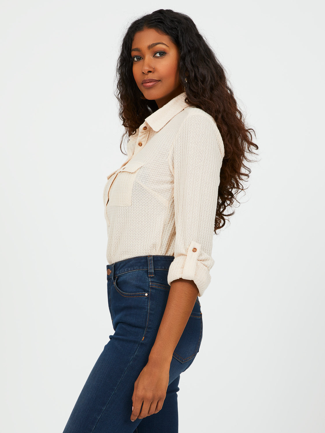 Popover Blouse With Shirt Collar