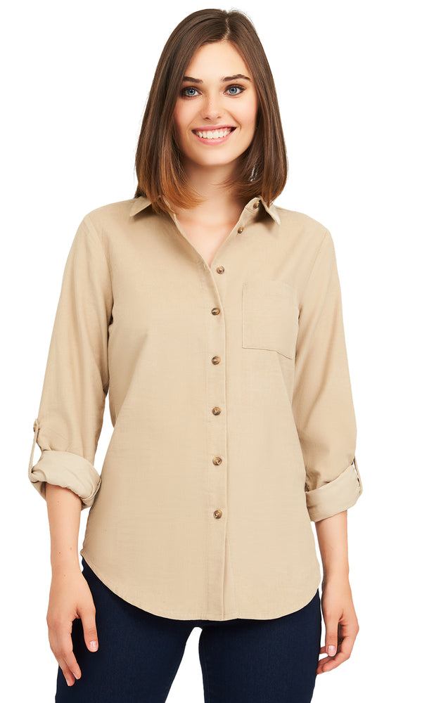 Cotton Shirt Collar Blouse