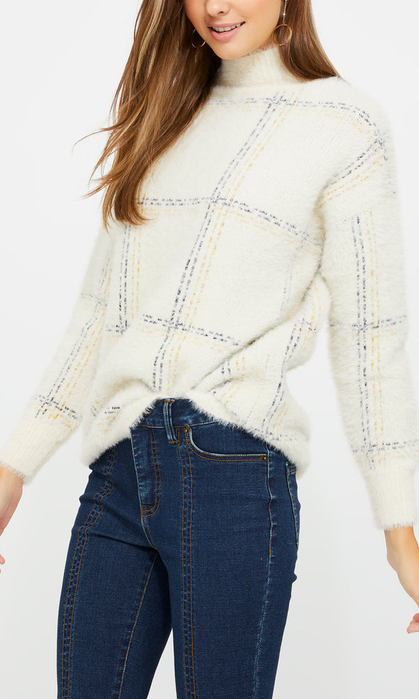 Long Sleeve Windowpane Fluffy Sweater