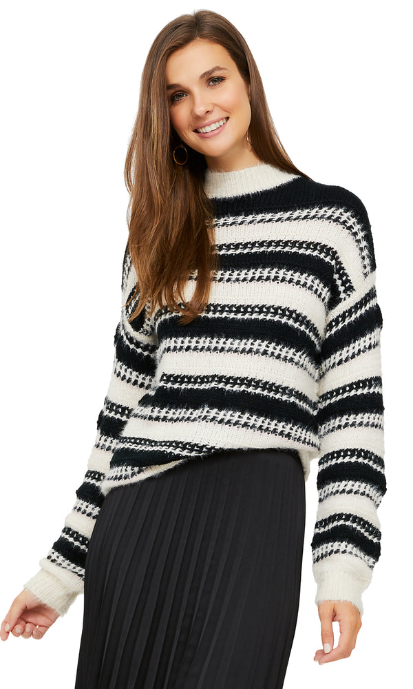 Long Sleeve Striped Mock Neck Sweater