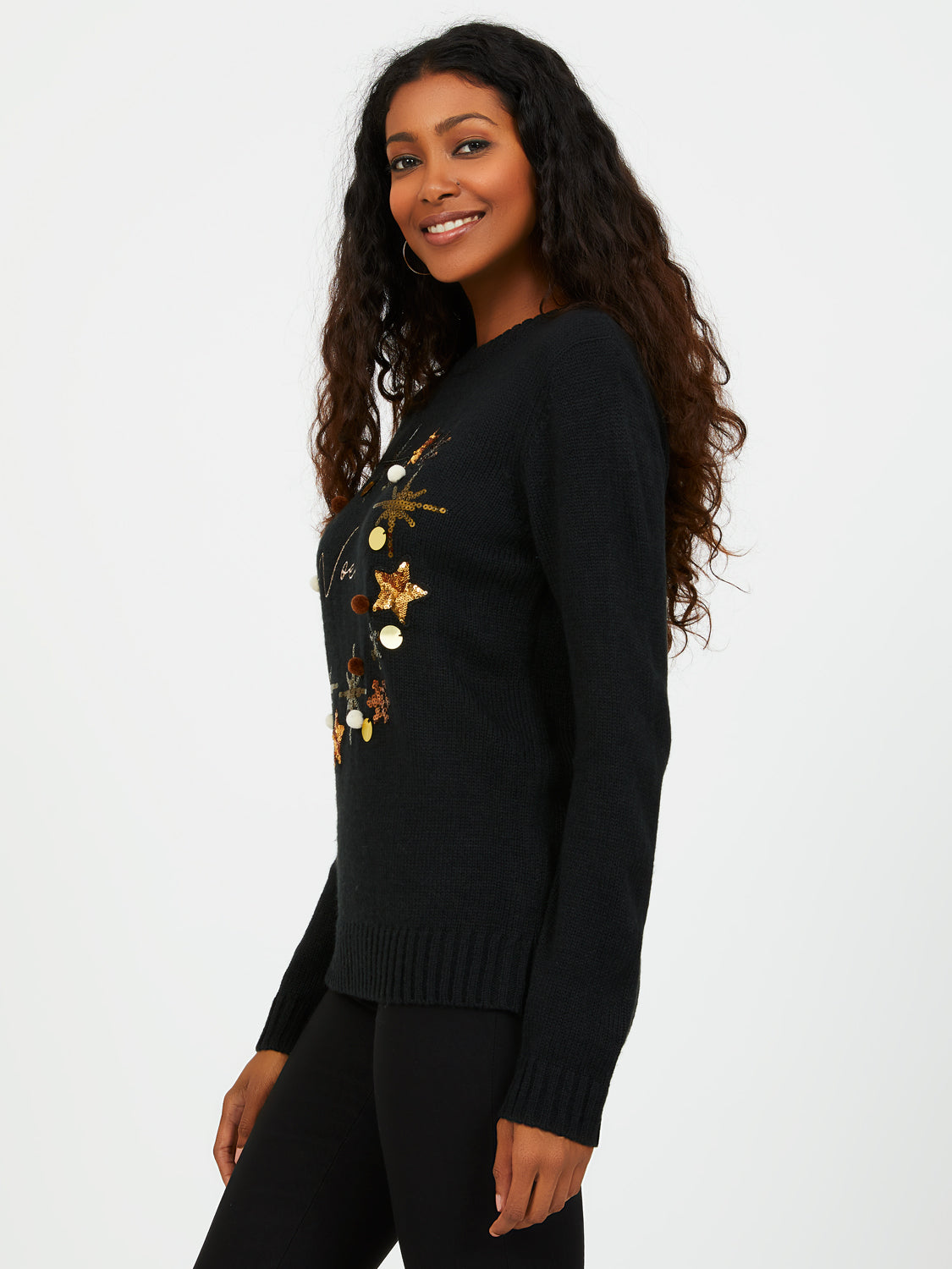 Crew Neck Noel & Xmas Wreath Print Sweater