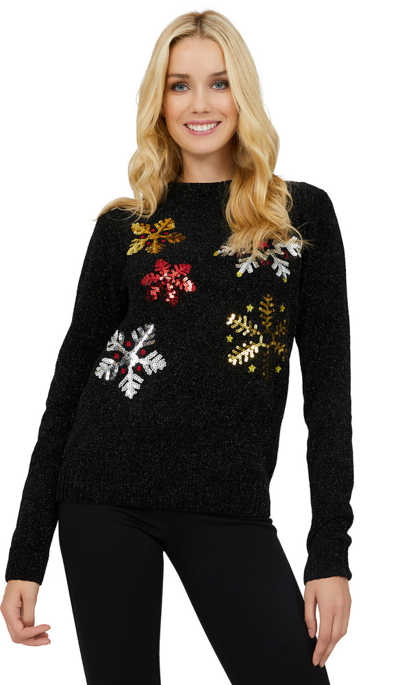 Long Sleeve Chenille Snowflake Print Sweater