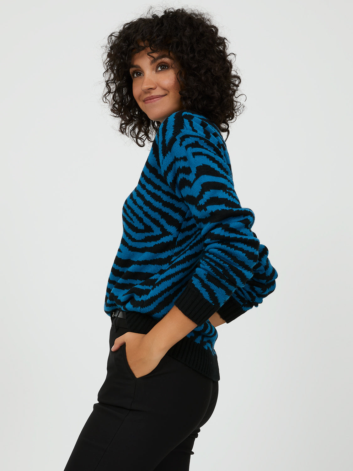 Zebra Print Long Sleeve Sweater