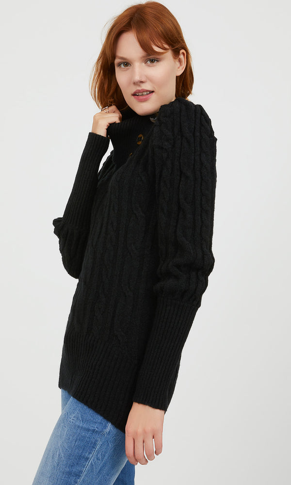 Split Neck Cable Knit Sweater