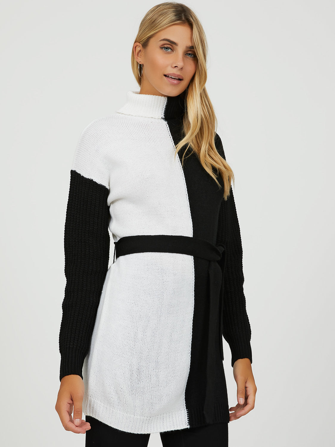 Colour Block Turtleneck  Tunic Sweater