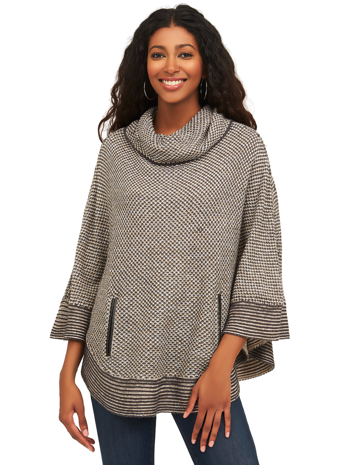 Cowl Neck Knit Sweater Poncho