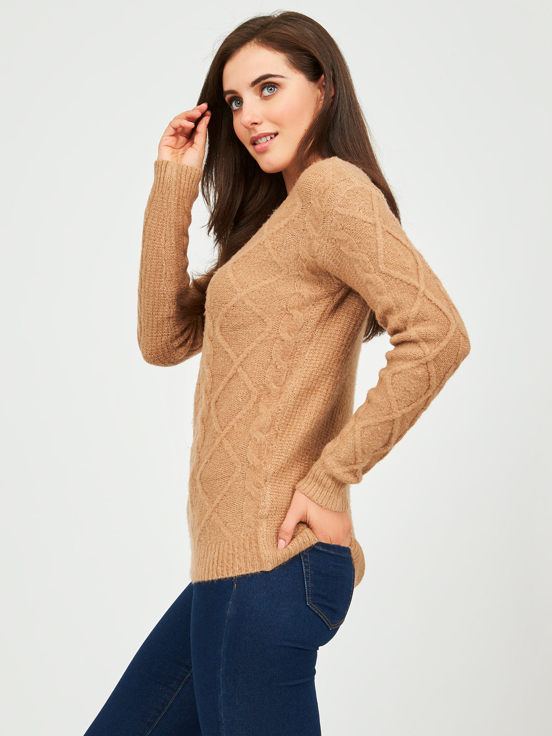 Long Sleeve Mossy Cable Knit Sweater