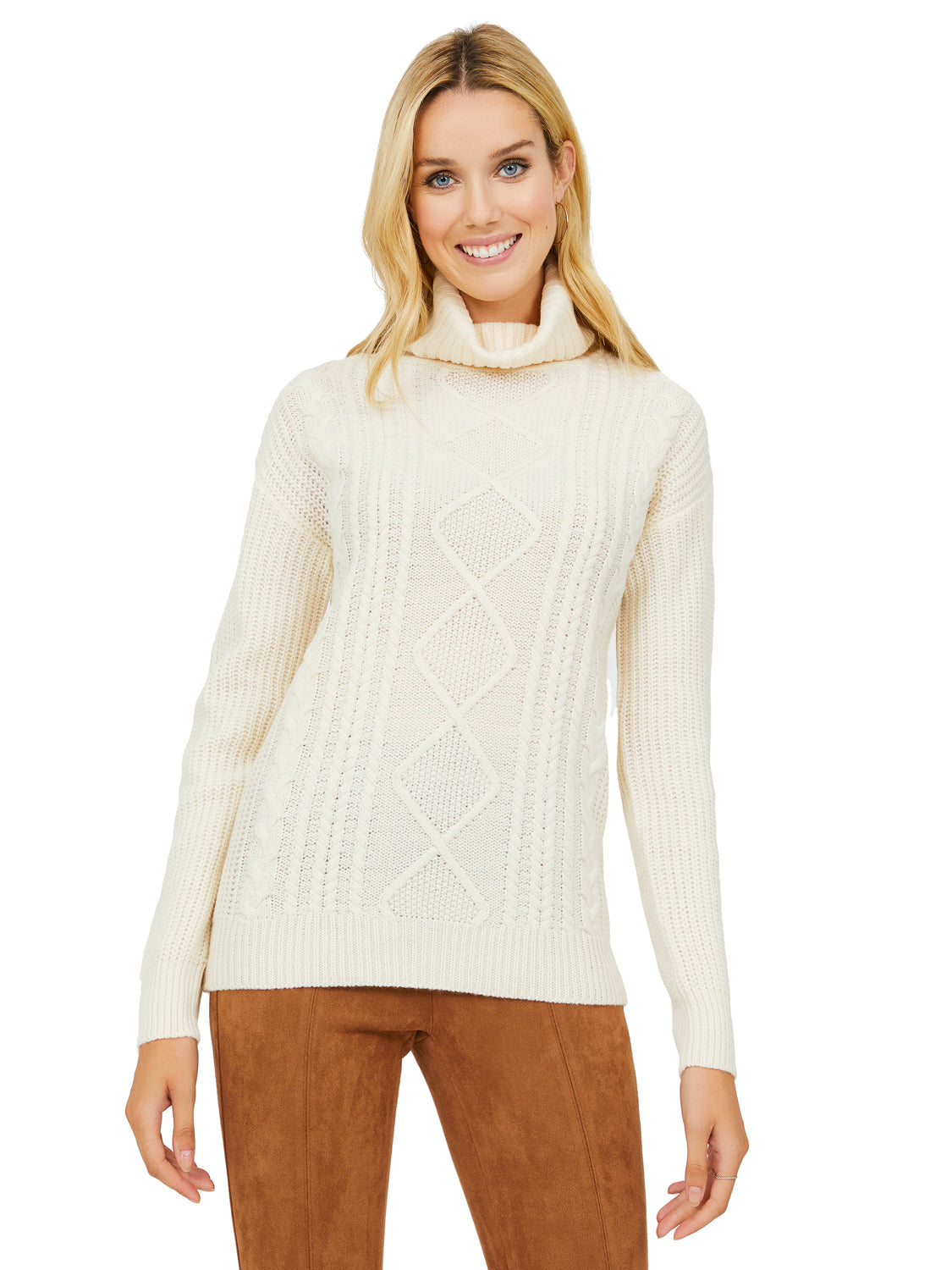 Long Sleeve Cable Knit Turtleneck