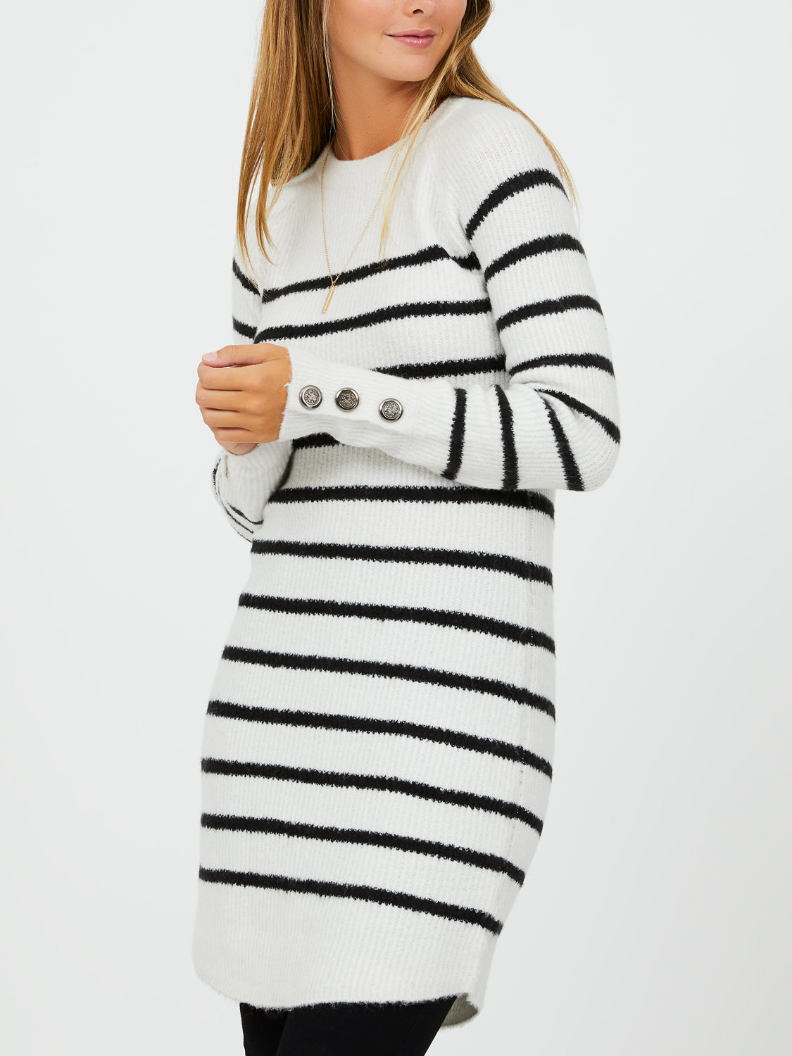 Striped-Long Sleeve Sweater Tunic