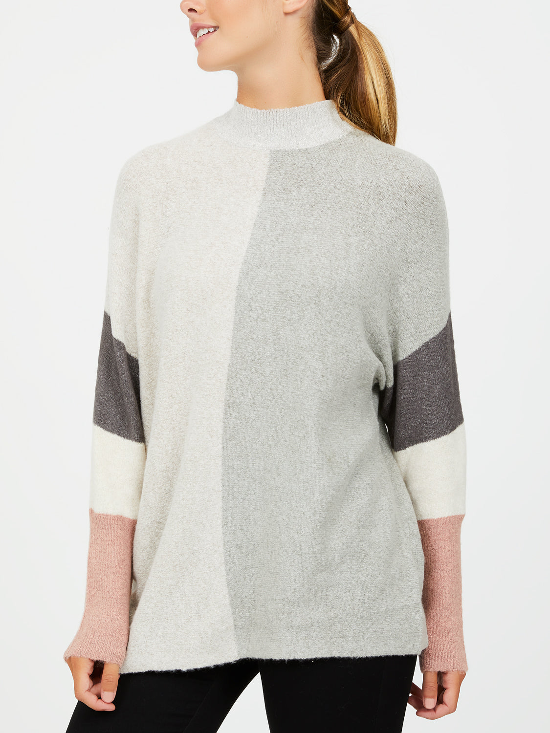 Colour Block Metallic Knit Sweater