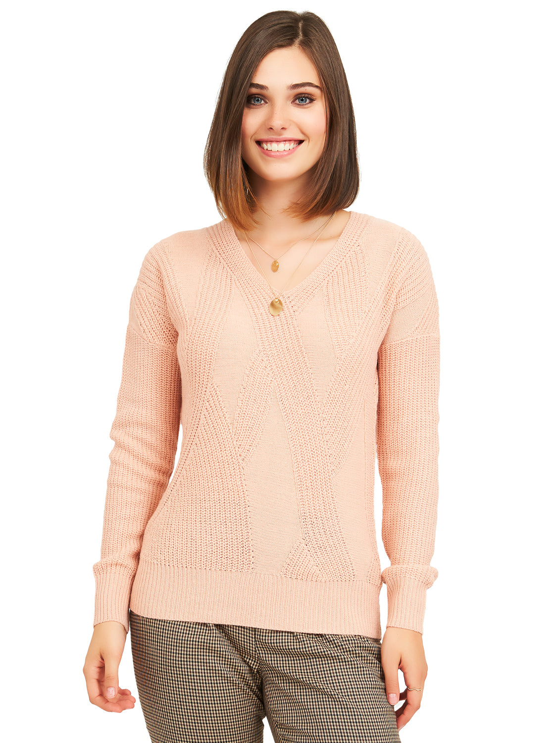 Jacquard Knit V-Neck Sweater