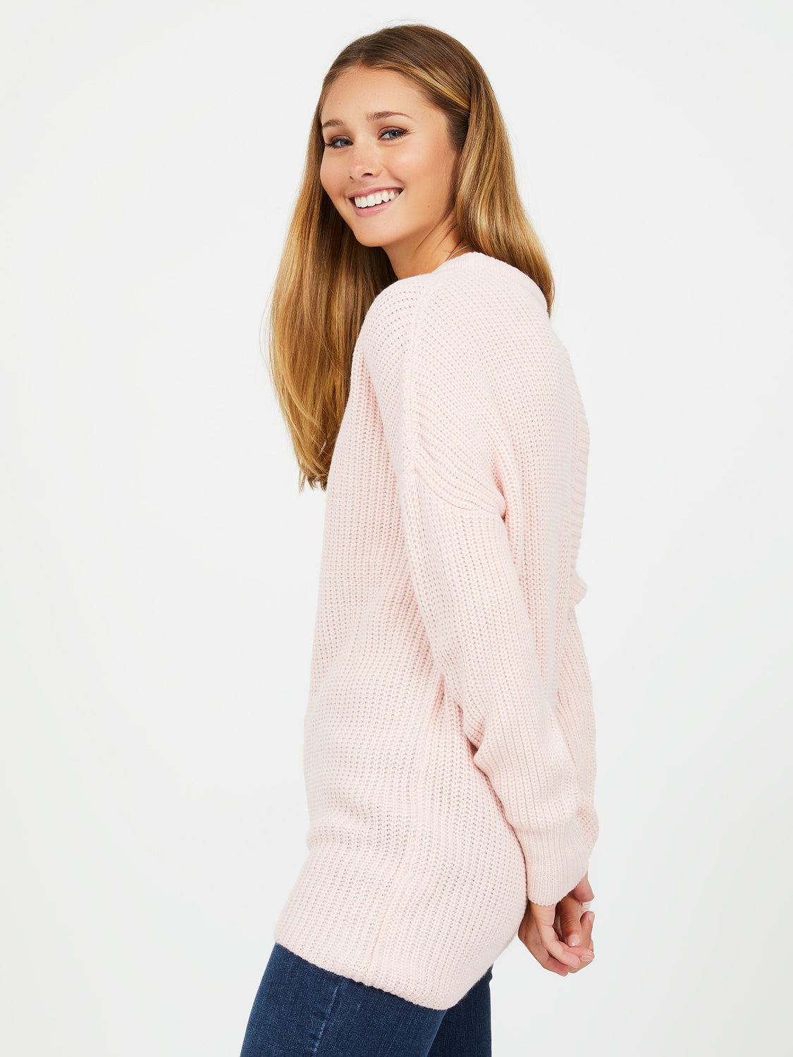 Asymmetrical Long Sleeve Crew Neck Sweater