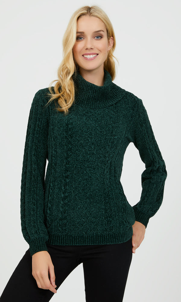 Long Sleeve Cable Knit Turtleneck Sweater