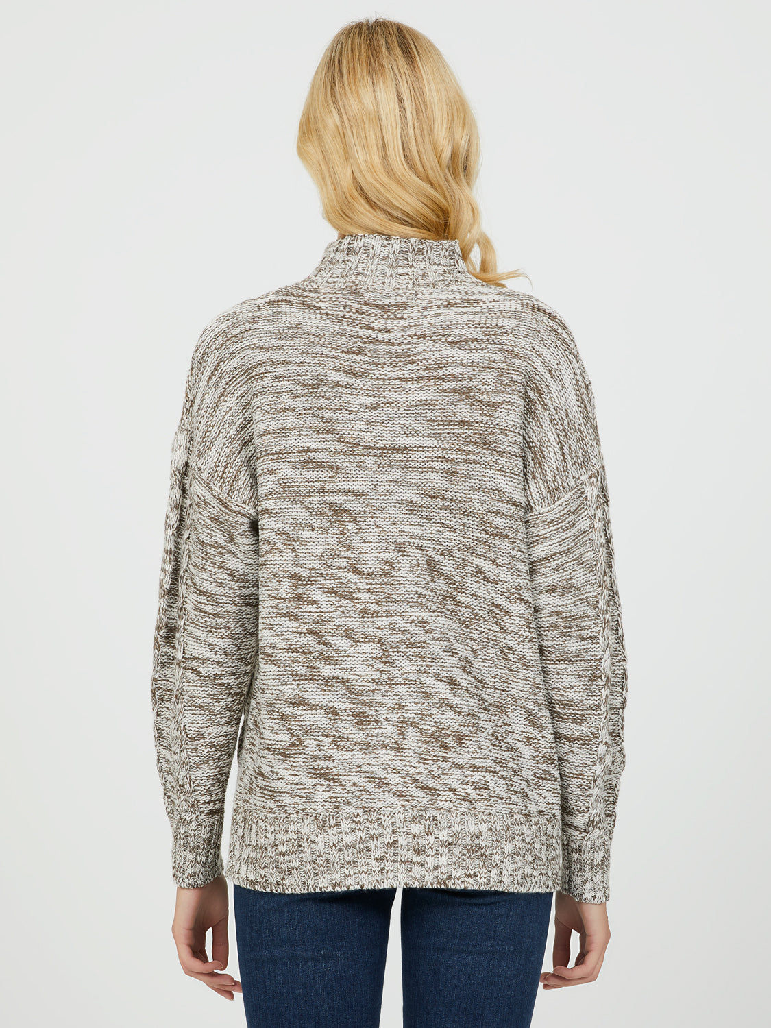 Mock Neck Cable Knit Sweater