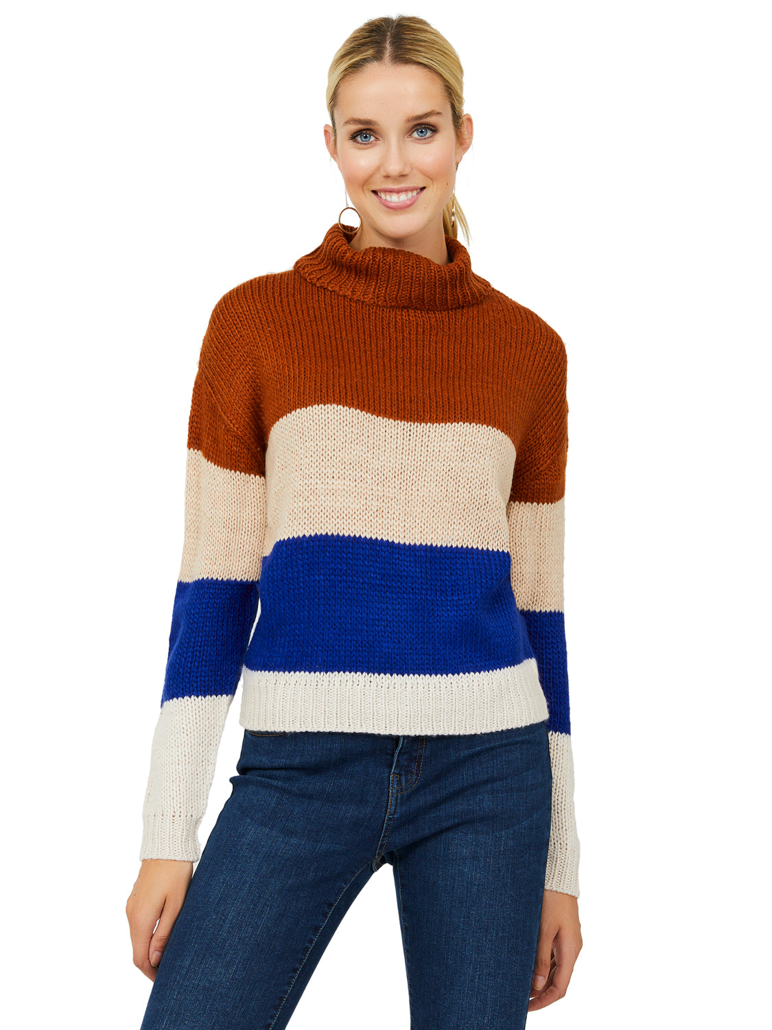 Striped Boxy Turtleneck Sweater