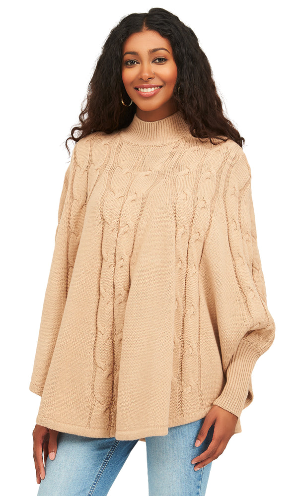 Mock Neck Cable Knit Sweater Poncho