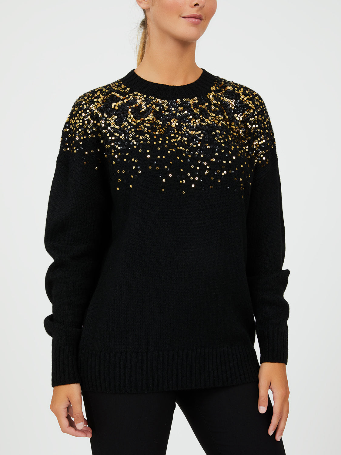 Long Sleeve Sequin Crew Neck Sweater