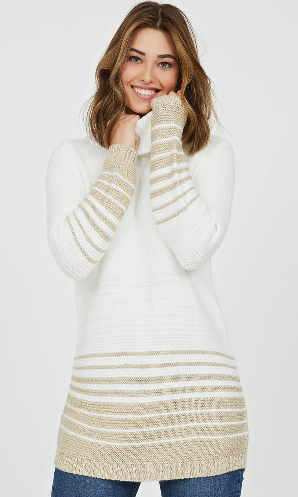 Cowl Neck Metallic Knit Sweater