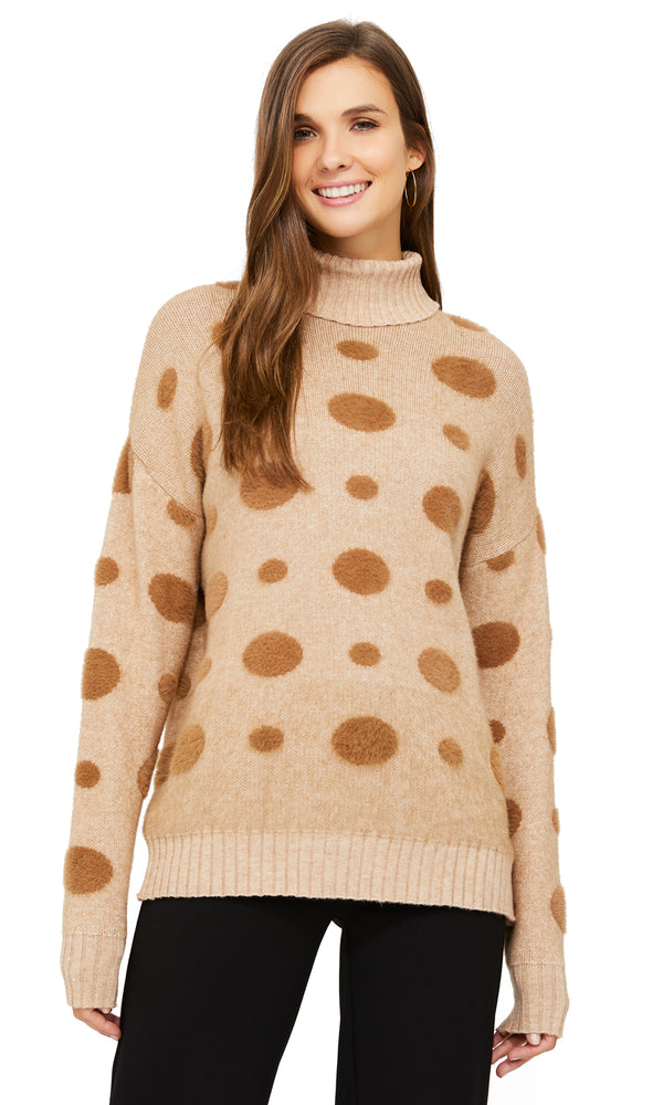Polka Dots Turtleneck Sweater