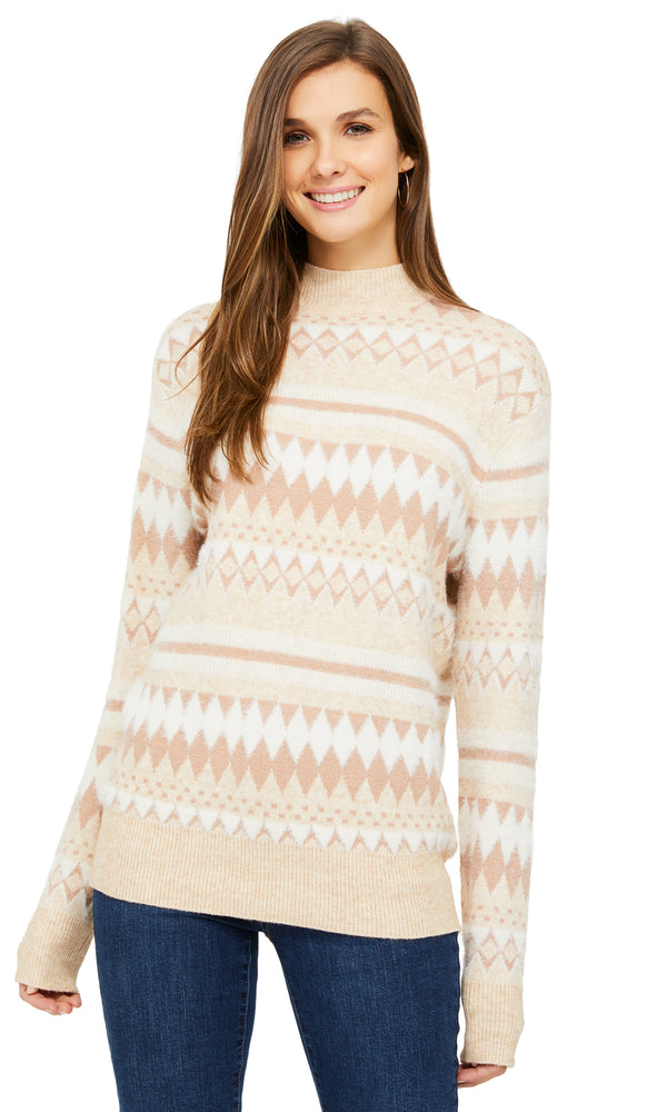 Fair Isle Jacquard Knit Sweater