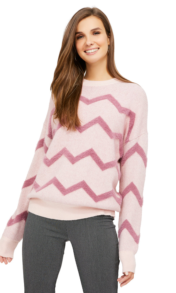Zigzag Hairy Yarn Crew Neck Sweater