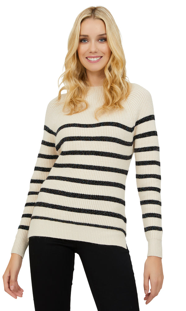 Long Sleeve Striped Funnel Sweater
