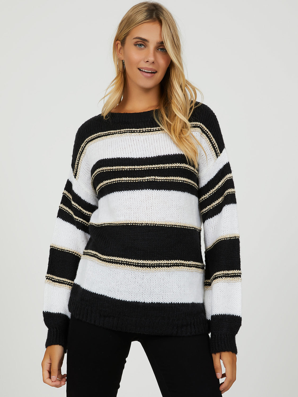 Balloon Sleeve Metallic Stripe Sweater