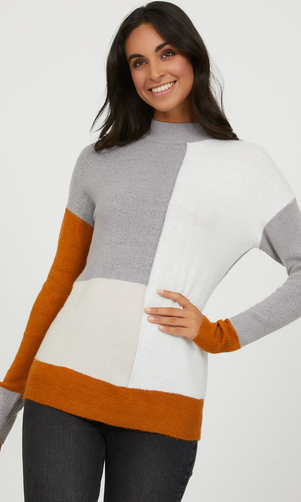 Colour Block Mock Neck Sweater