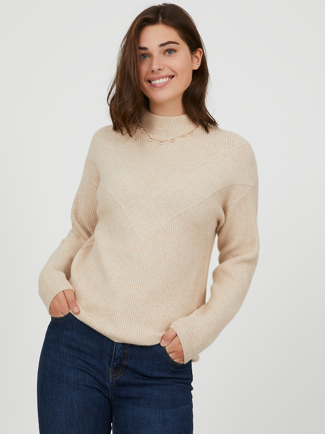 Funnel Neck  Chevron Sweater