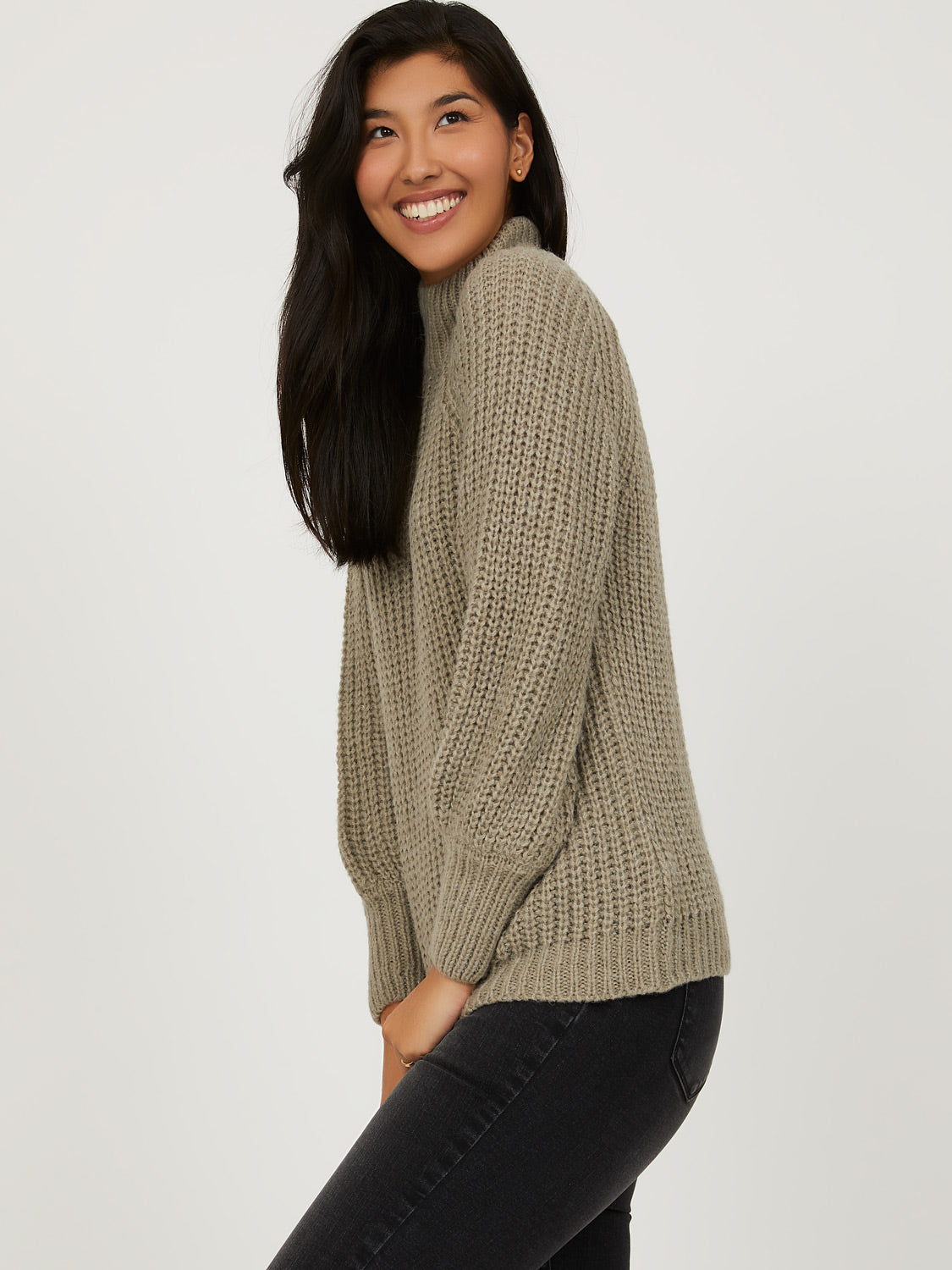 Balloon Sleeve Mock Neck Sweater