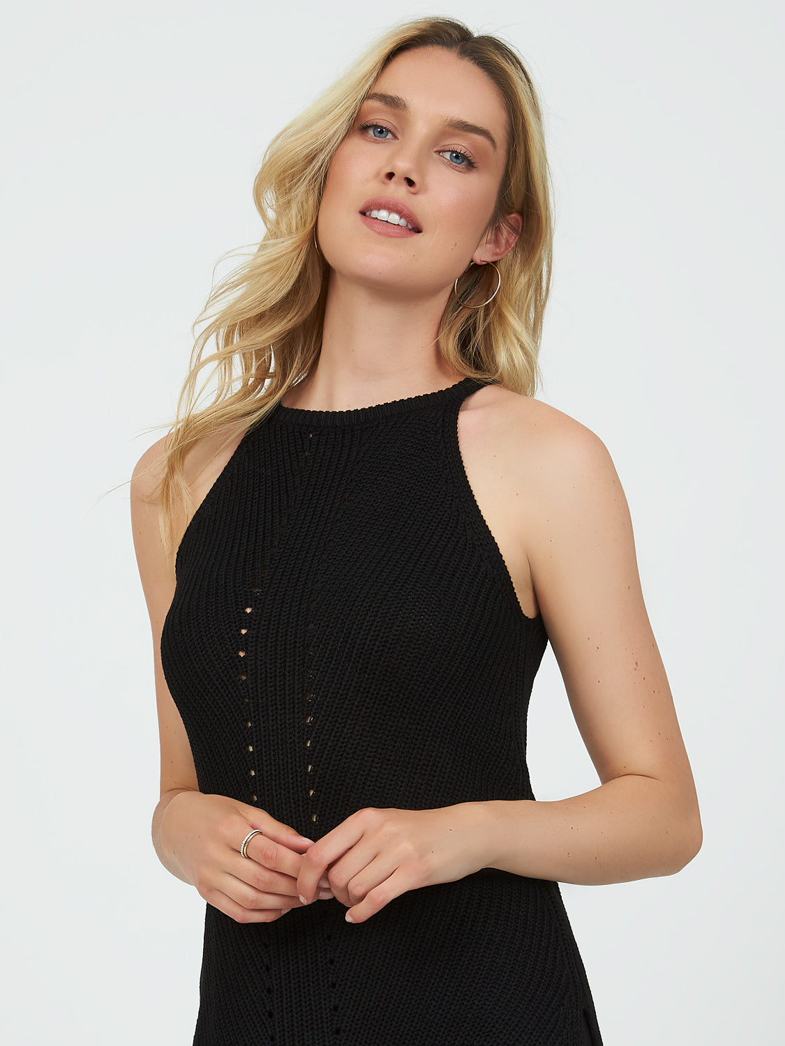 Sleeveless Pointelle Halter Top