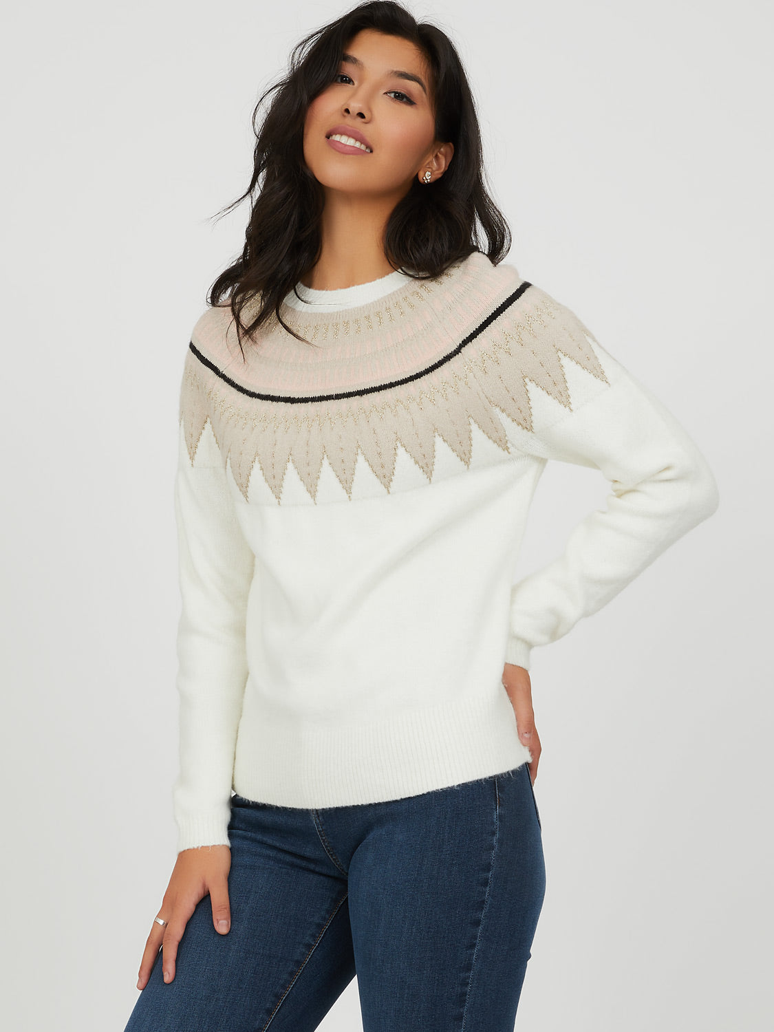 Fair Isle Metallic Knit Sweater