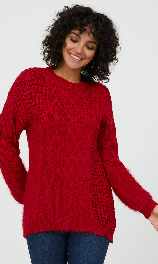 Long Sleeve Feather Yarn Sweater