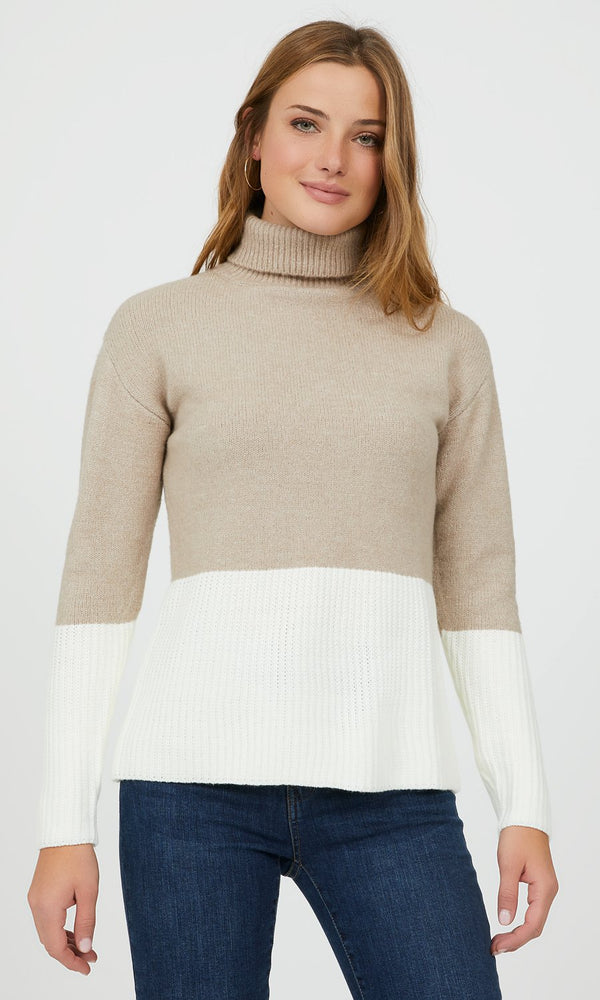 Long Sleeve Colour Block Turtleneck Sweater