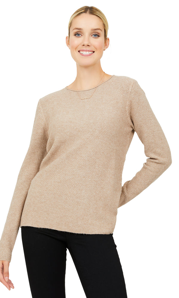 Long Sleeve Textured Crew Neck Sweater