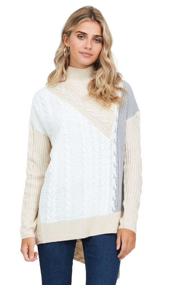 Patchwork Asymmetrical Mock Neck Sweater