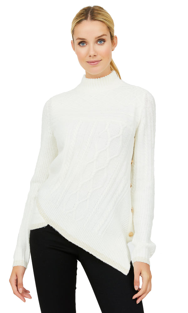 Asymmetrical Mini Mock Neck Sweater