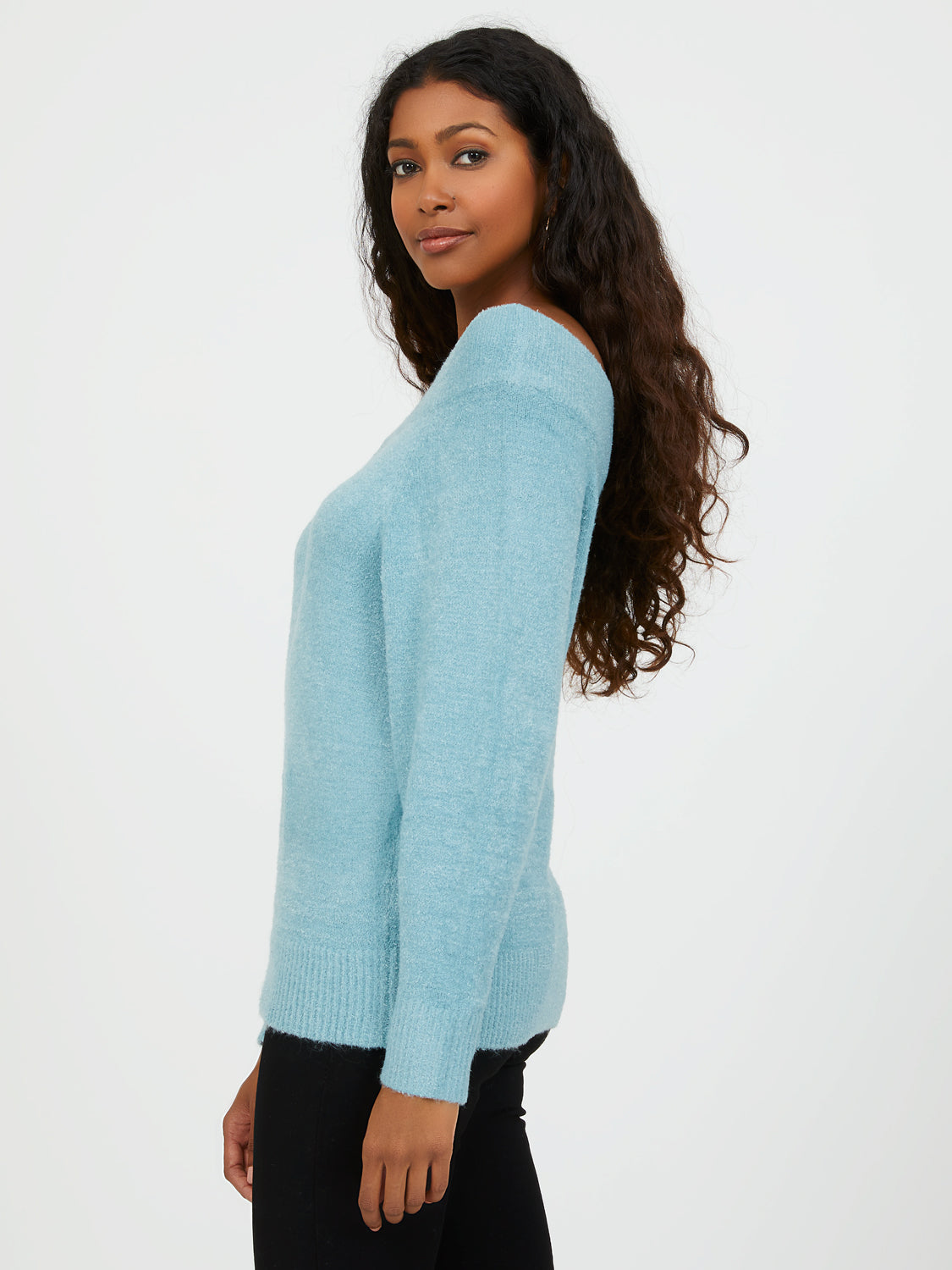 Fluffy Boat Neck Sweater