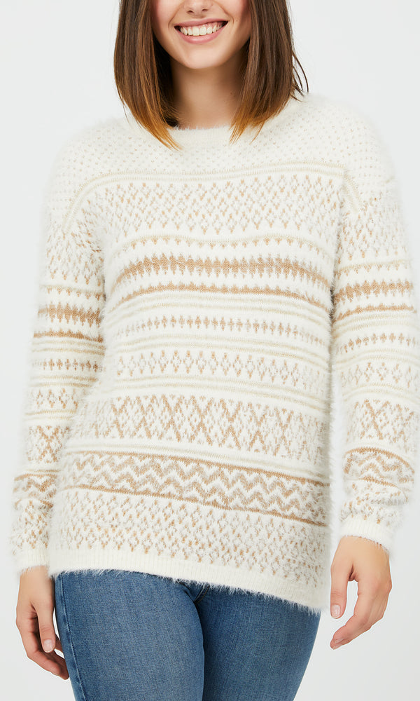 Long Sleeve Jacquard Crew Neck Sweater